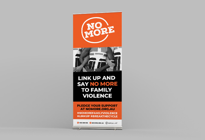 NO MORE Pull Up Banner Roll Up Display