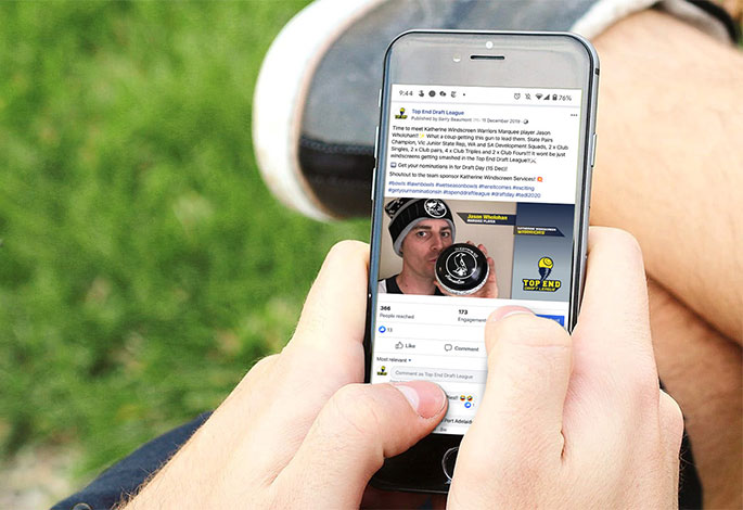Top End Draft League lawn bowls social media